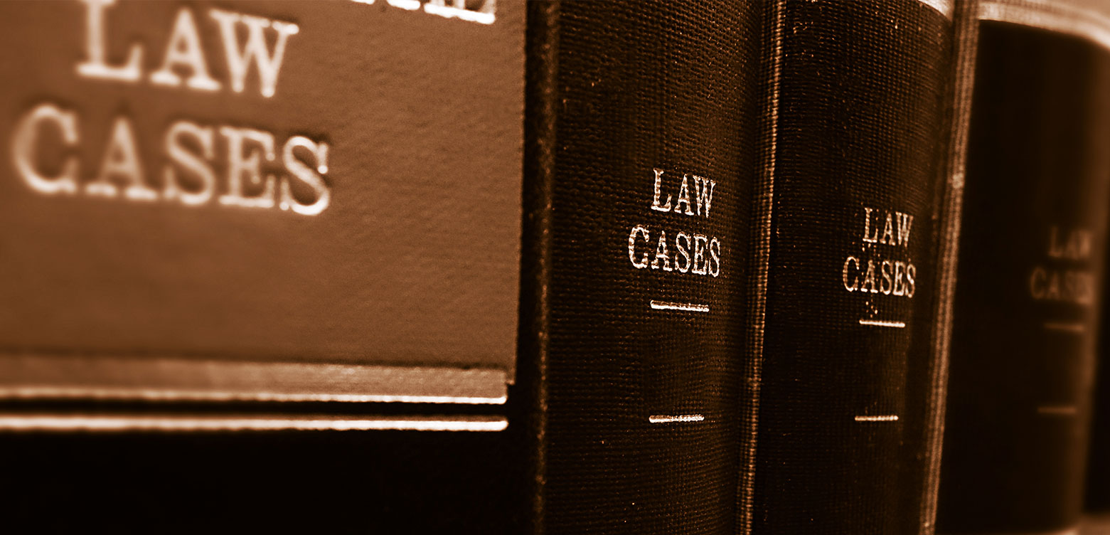 book spines of law cases